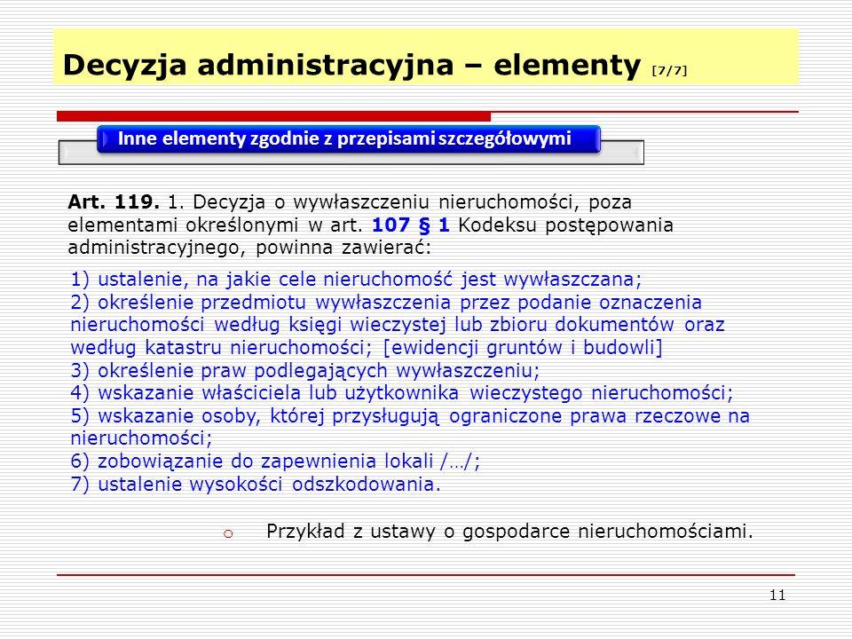 Decyzja administracyjna – elementy [7/7]